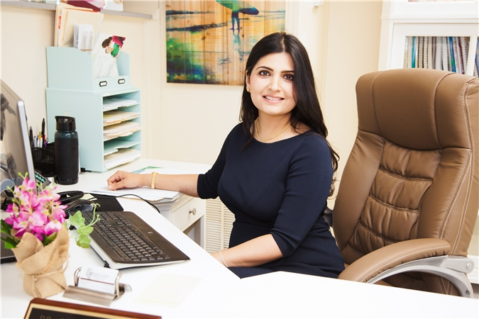 dr sanam hafeez at her desk